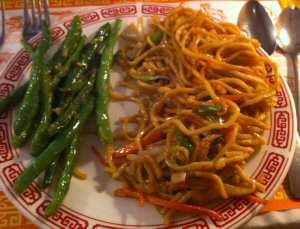 Szechuan Restaurant Sauted Beans, Veg Lo Mein