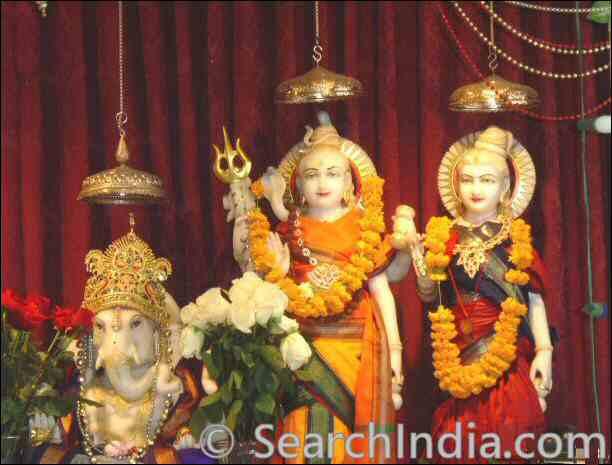 Ganesh, Shiva, Parvati, Shri Mandir San Diego