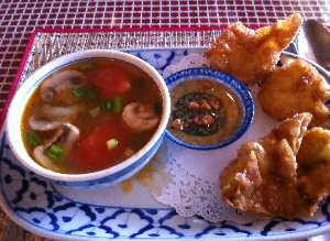 Bangkok City Thai Chicken Appetizer with Veggie Soup