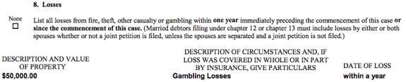 Raghunandan Yandamuri Gambling Disclosure on Bankpruptcy Filing