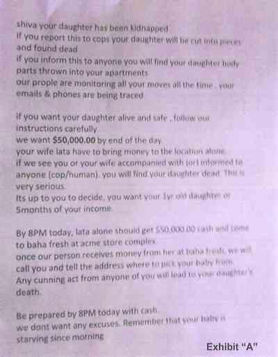 Raghunandan Yandamuri Ransom Note