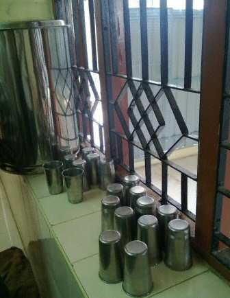 Amma Canteen Chennai Steel Water Glasses, © SearchIndia.com