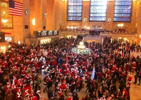 Santas at Apple Store in Grand Central Station