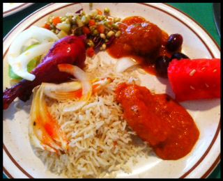 Indian Food - Jeera Rice, Chicken Makhani, Lamb Kofta Tandoori Chicken