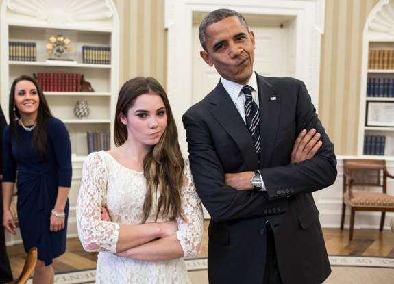 Barack Obama with Gymnast McKayla 'Not Impressed' Maroney