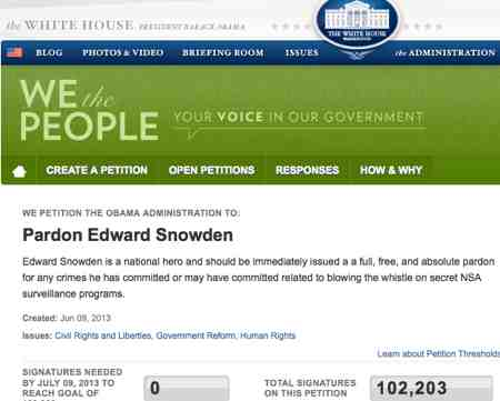 Pardon Edward Snowden Petition Crosses 100,000