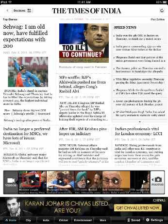 Times of India - iPad