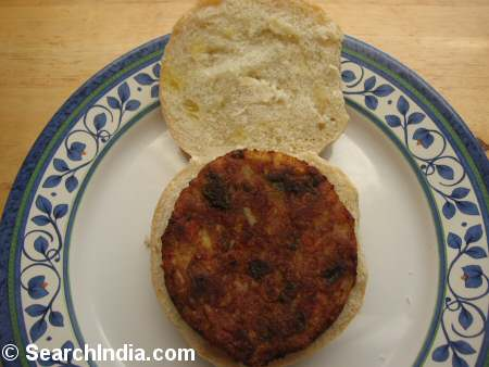 Vegetable Masala Burger on a Bun - Image © SearchIndia.com