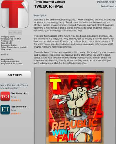 Times of India Tweek Magazine for iPad
